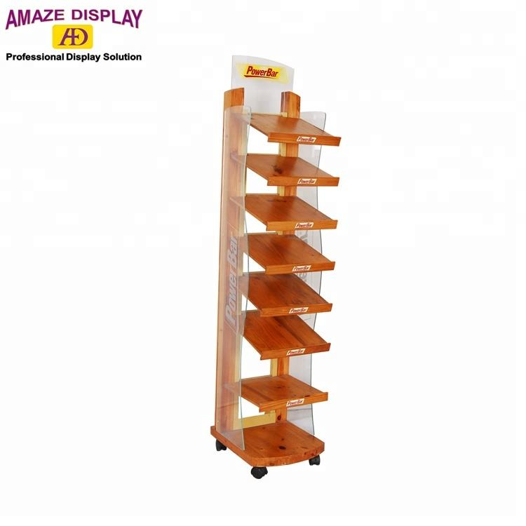 slanted design solid wood display stand for power bar chocolate or snacks