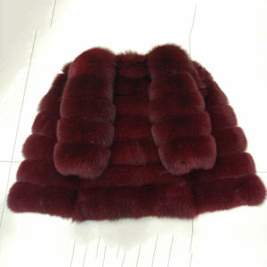 Factory Direct Sale Luxury Long Sleeves Women Real Red Fox Fur Coat Jacket
