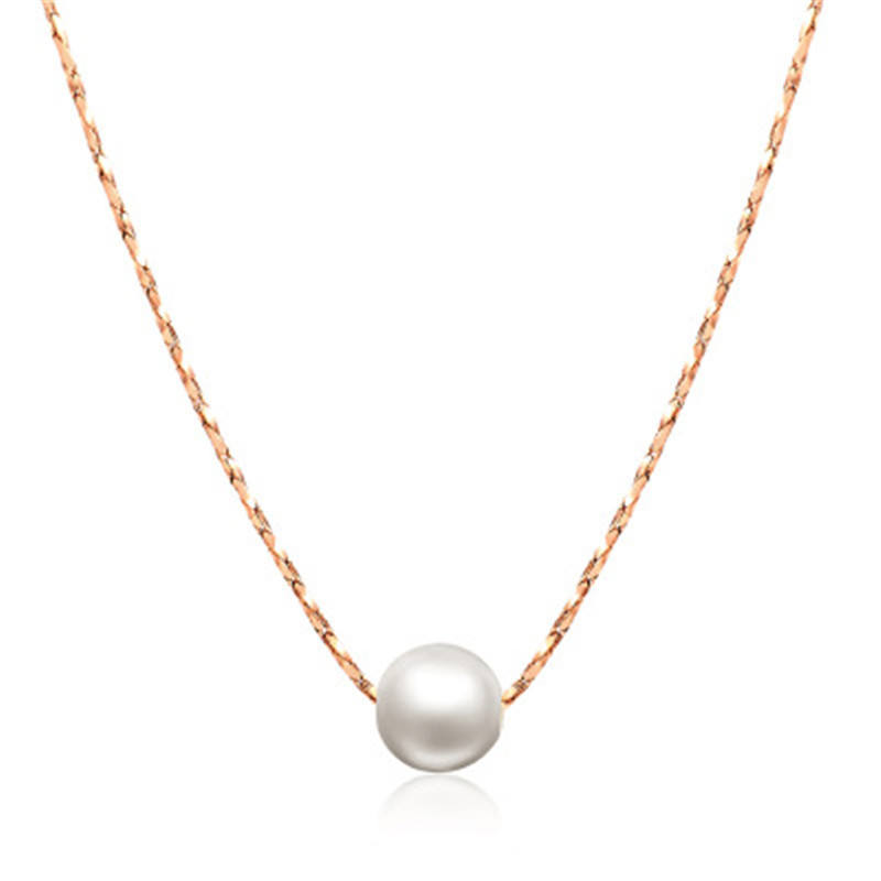 Rose Gold Color Fashion Jewellery Simple OL Lady Style Imitation Peal Necklace