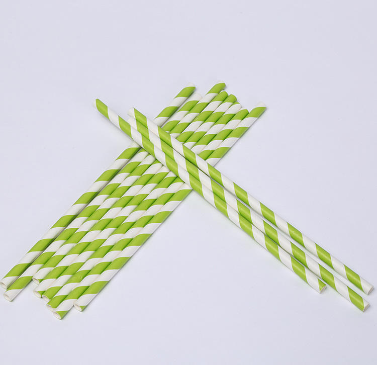 8mm Grass Green White Stripped White Paper Wrapped Biodegradable Drinking Paper Straws