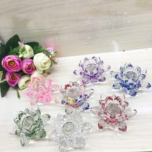 K9 Crystal small clear pink lotus flower for wedding decoration