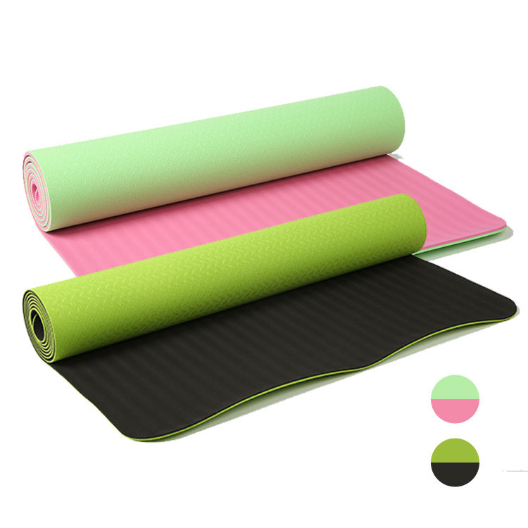 Amazon Hot Fitness TPE Anti-slip Yoga Mat Double Color Exercise Yoga Mat High Density TPE