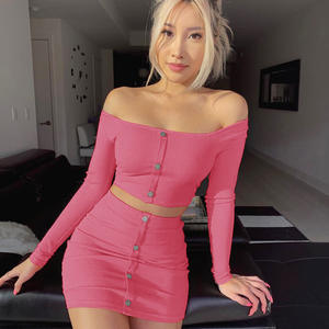2019 New Design Fashion Graceful Clothes Casual Dresses Hot Erotic Long Sleeve Women Sexy Dress Two Pieces Set