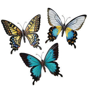 3D metal Sculpted Butterfly Trio decor hanging Wall Art