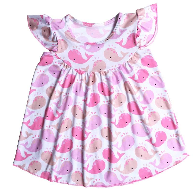 OEM/ODM Adorable Girls cute whale pattern pink flutter swing dress cotton petti pearl boutique dress