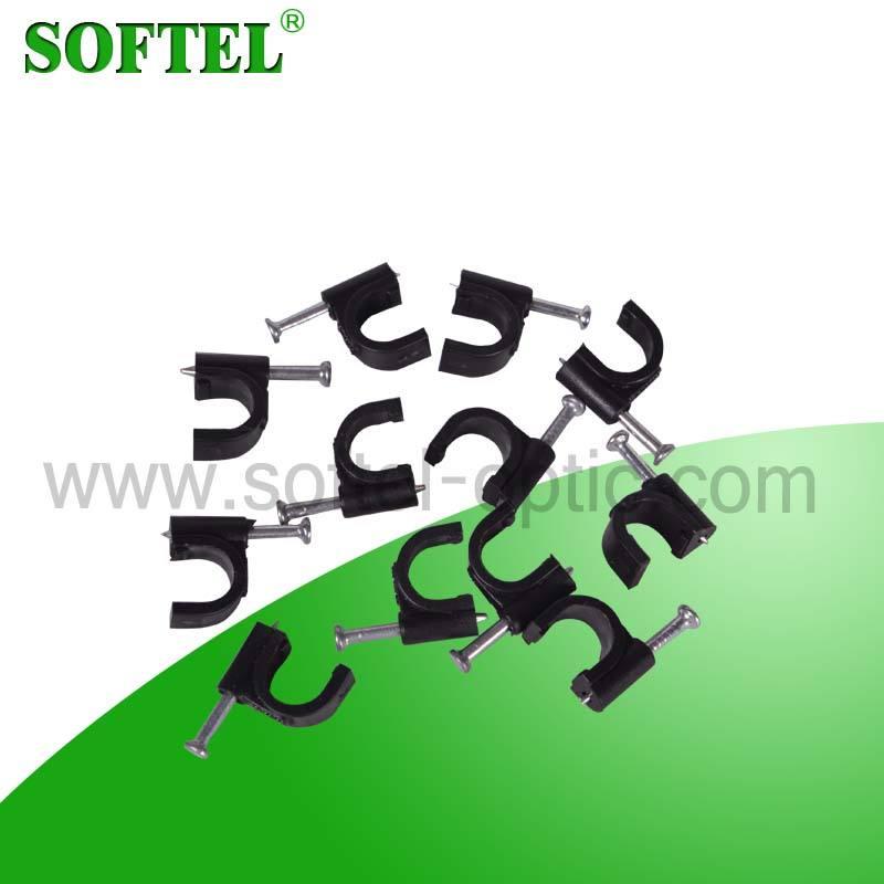 [ Skype compte : softel009 ] usine prix acier Nail <span class=keywords><strong>blanc</strong></span> câble en plastique clip pour rg59, Rg6, Rg11