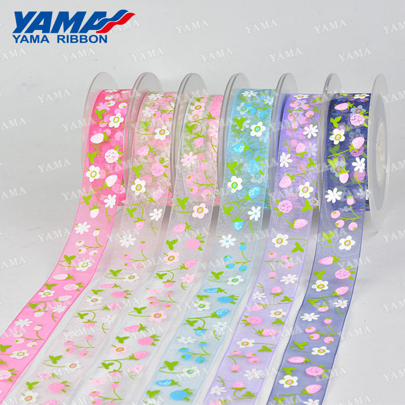 Yama factory design 16/25 MM organza printed crafts flower floral ribbon for gift packing