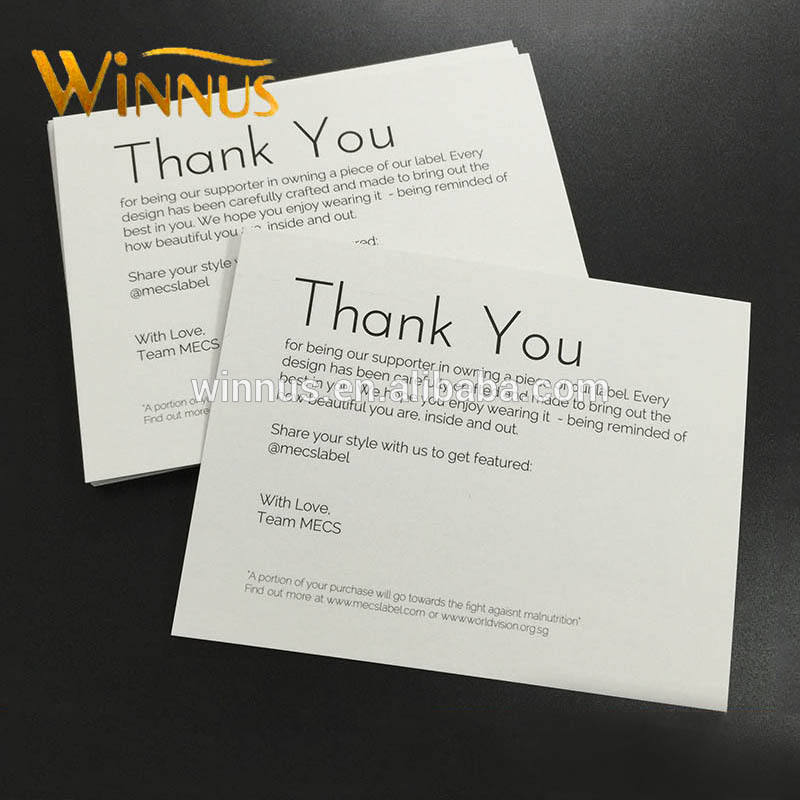direct factory white paper cheap own logo design printing custom thank you cards