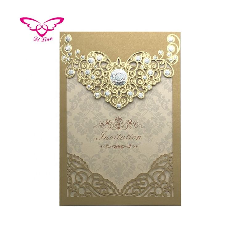 Dilian Wedding 2018 New Design Diamond Series Gold Wedding Card Invitation