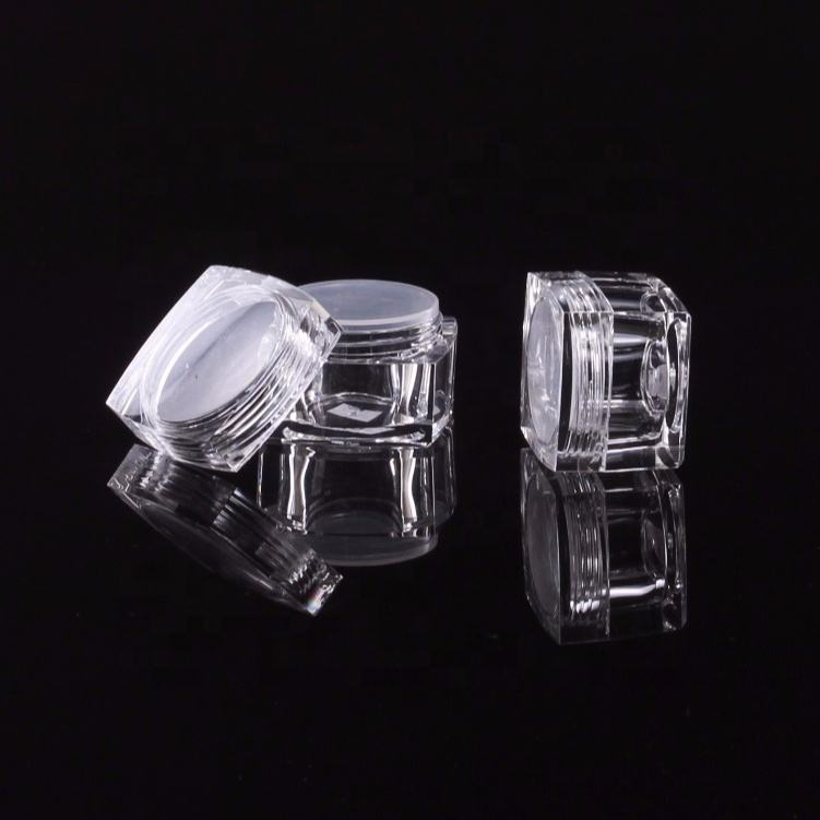 Clear plastic petg material square jar with powder sieve tank for cosmetic packaging transparent