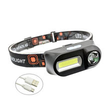 MINGRAY USB Rechargeable Headlamps 3 W COB and LED 1300 mAH lithium battery hot sale head lamp light Camping flashlight