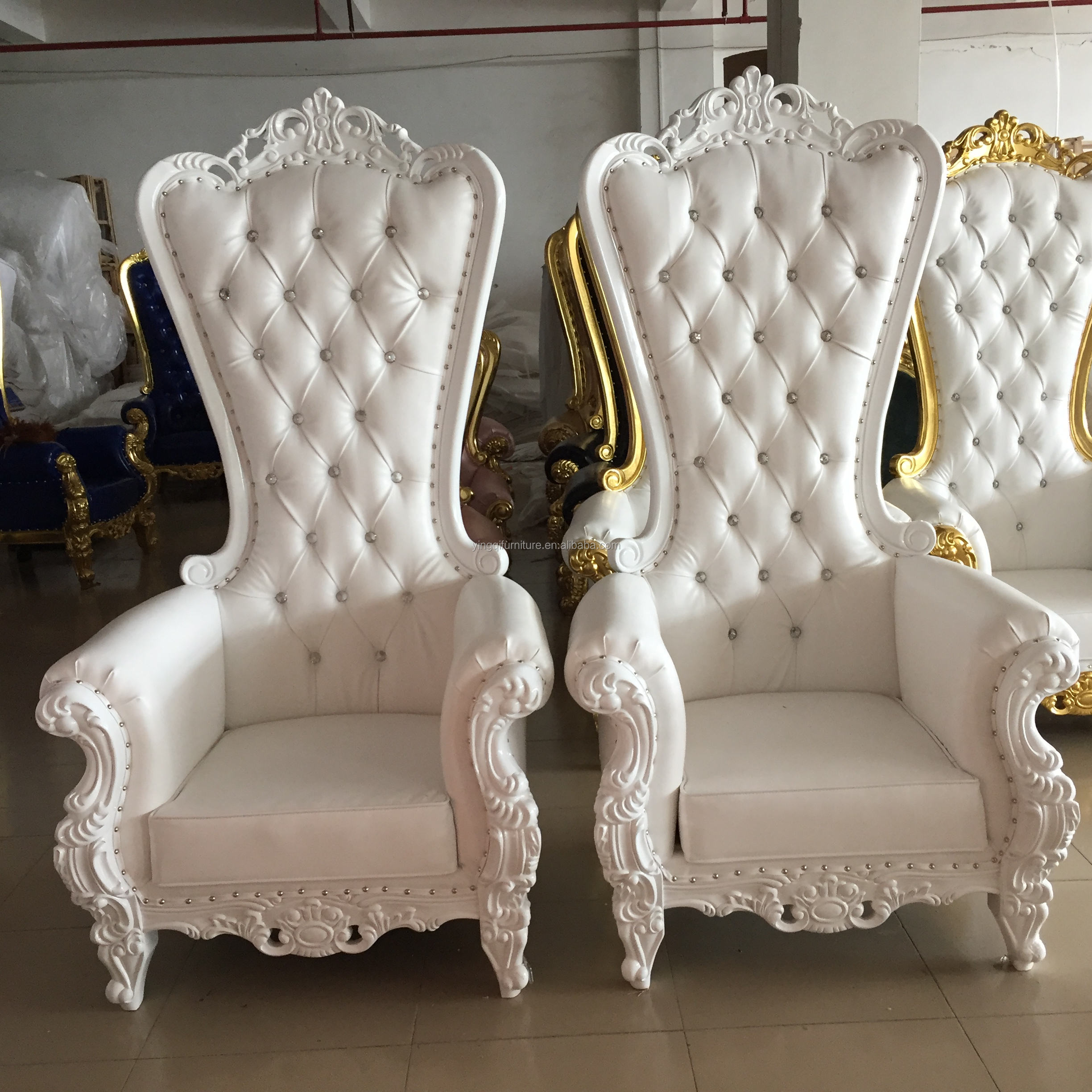 Large White High Back King Chairs for Sale