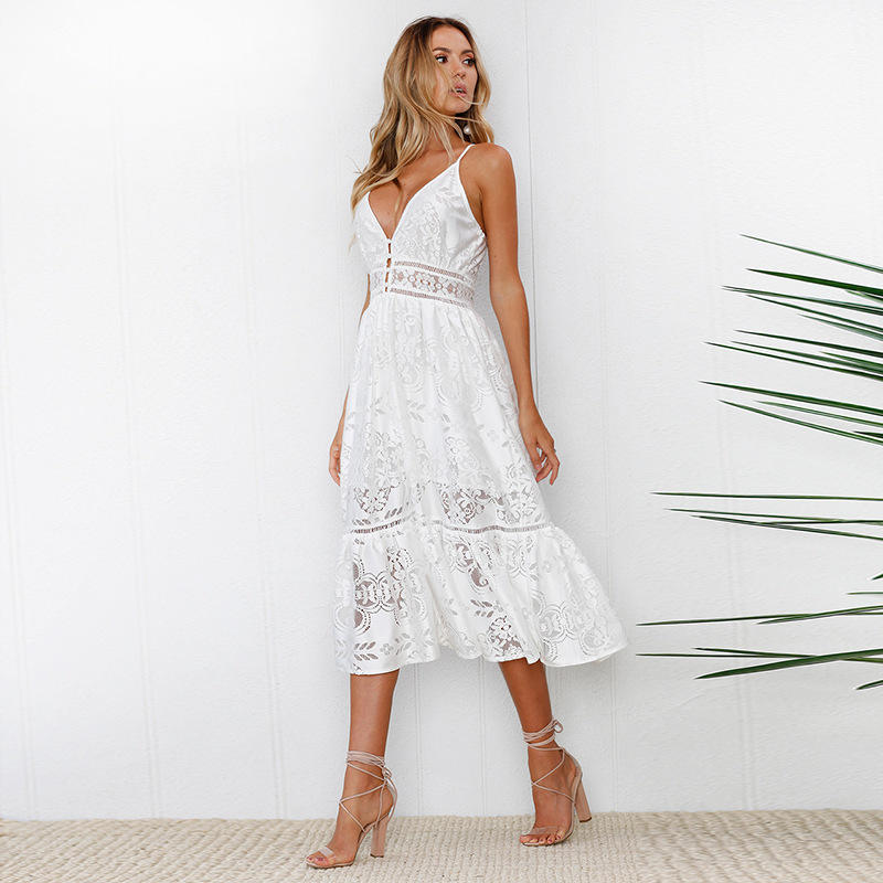 2019 Spring Summer Women White Lace Dresses Deep V Neck Strap Long Summer Dresses