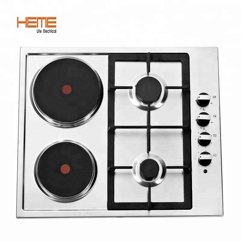Stainless steel panel electric cooker gas hob with 2 gas burner+2 electric hot plate gas cooktop PGER6042S-A1CI