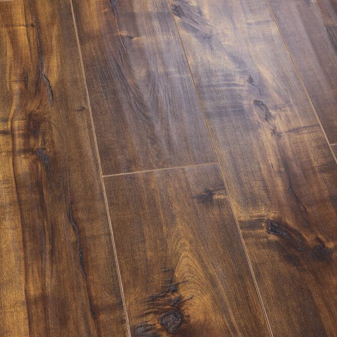 Grooving Walnut Color Embossed Laminated Flooring Better Colour Durability Laminate Flooring Outdoor