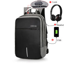 high quality custom mens outdoor nylon waterproof business laptop smart headphone port usb charging anti theft backpack bags