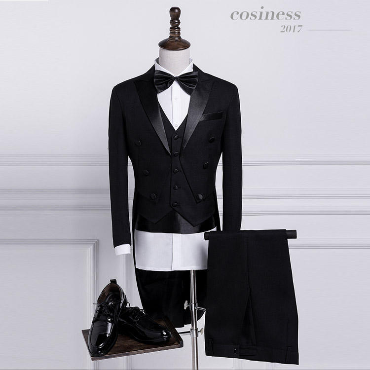 Elegant top quality custom tailored tuxedo men wedding dress swallow tail coat