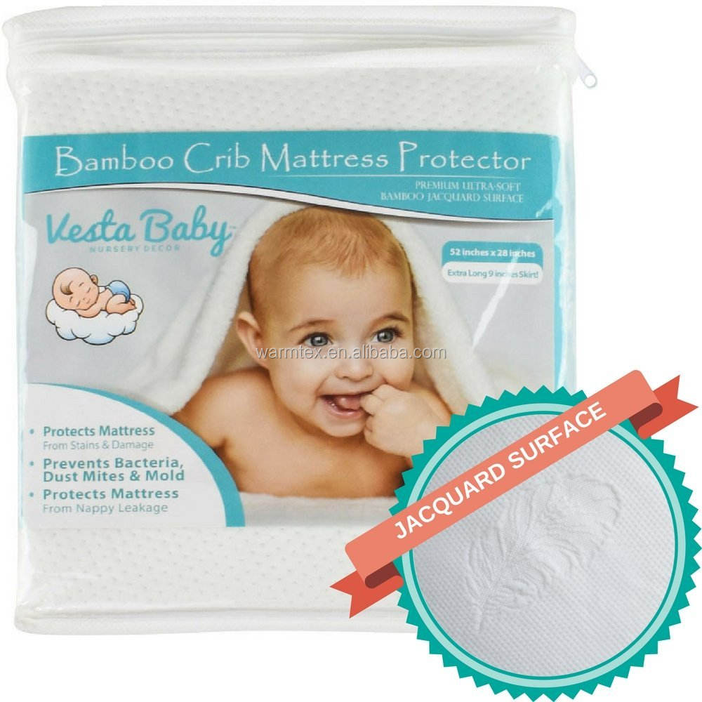Crib Mattress Protector Waterproof Pad Cover Fitted Organic Bamboo Hypoallergenic Soft for Infant and Toddler Standard Size