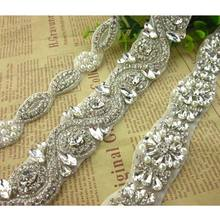 High quality wedding dress accessories handmade crystal rhinestone wedding sash applique