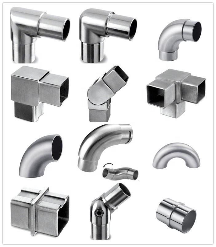 90 degree railing elbow tube cross connector hinge clamp Stainless Steel Handrail Joint