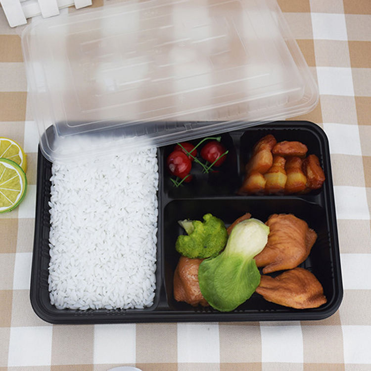 2021 Amazon Hot Sale New Product Food Container 4 Compartment 300 Sets Disposable Plastic Storage Bento Lunch Box With Flat Lids