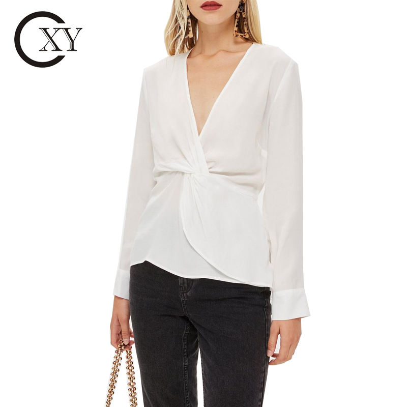 Custom Ladies Plain Twist Front Plunging V Neck Long Sleeve Button Closure Cuffs Ivory Blouse