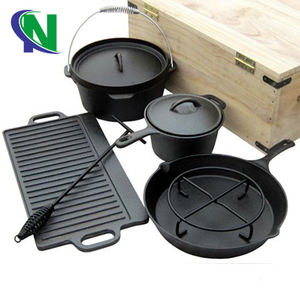 Shijiazhuang Ningchuang Cookware Sets Outdoor Camping Cookware Sets Pre-Seasoned Cast Iron Camp Dutch Oven Sets For BBQ