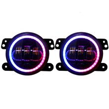 RGB Halo 4 Inch led Fog Light Phone APP Controlled for Jeep Wrangler JK JKU TJ LJ Freedom Edition, Rubicon Sport, Sahara