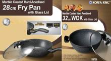 Marble Coating Fry pan & Wok with Glass lid