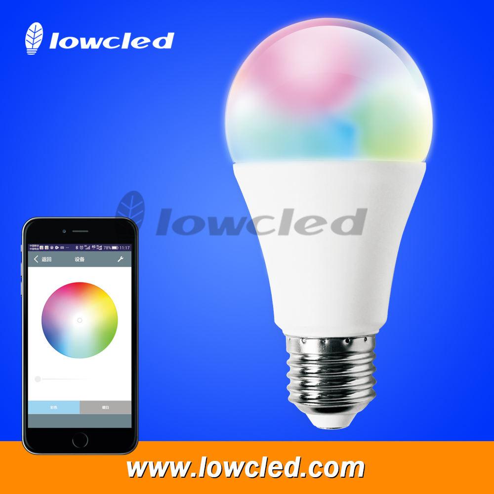 Изменение цвета RGB Bluetooth Smart светодиодные лампы, 7 Вт E27 лампочки bluetooth led