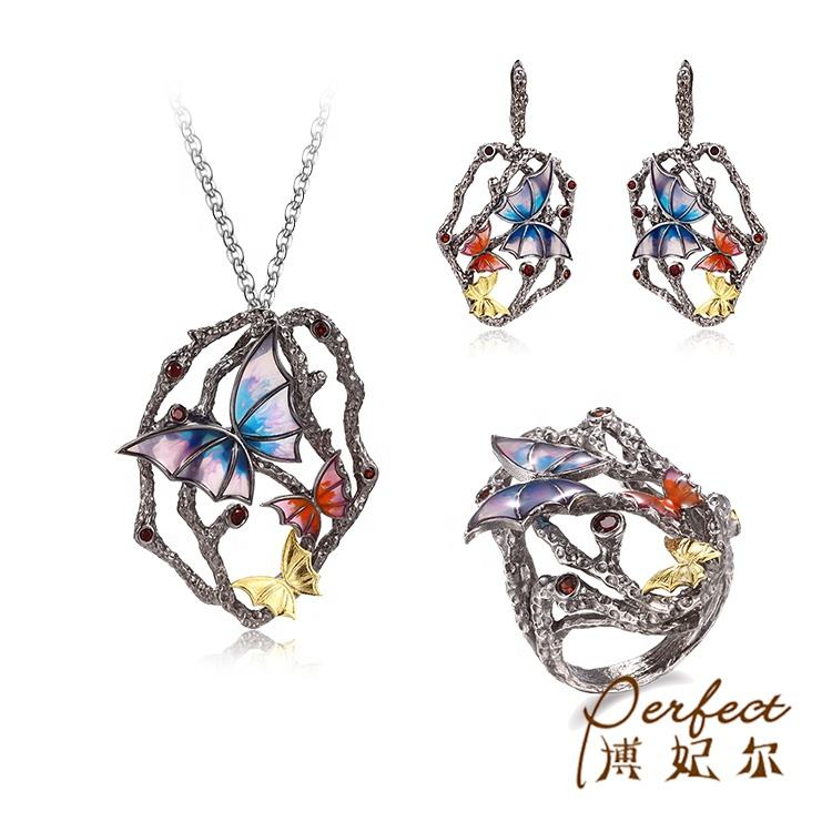 Multi-color 멜 Jewelry Sets 금 Plated Geometric 또 귀걸이랑 링 펜 던 트 Necklace Sets