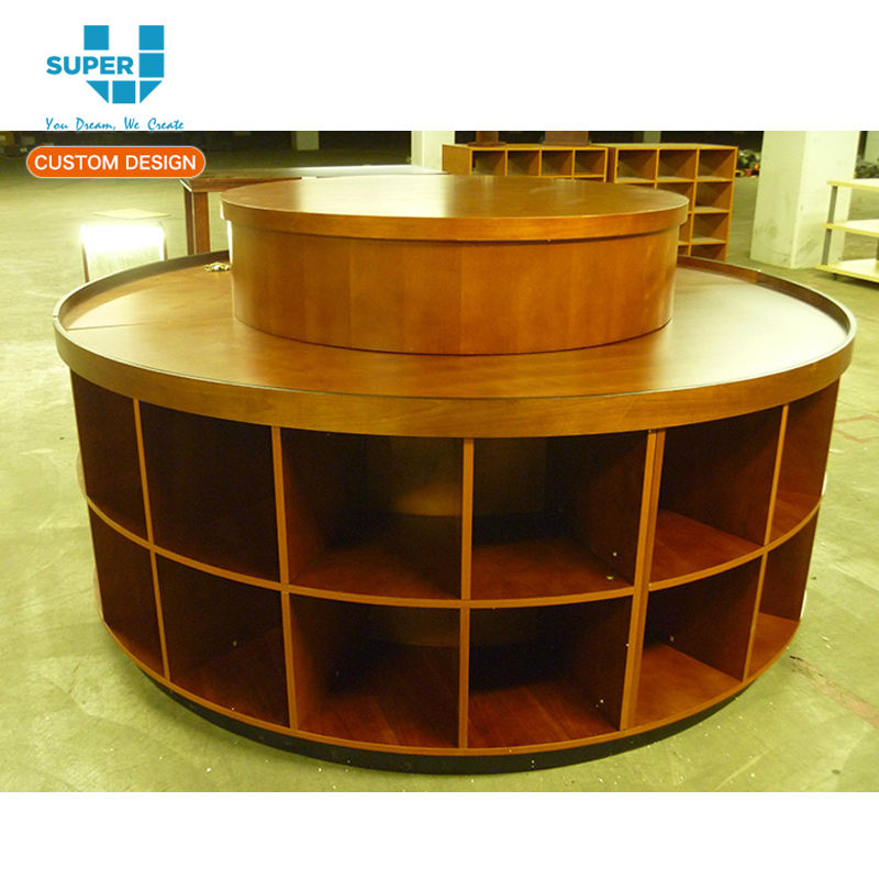 Wood Clothing Retail Round Display Table Stand