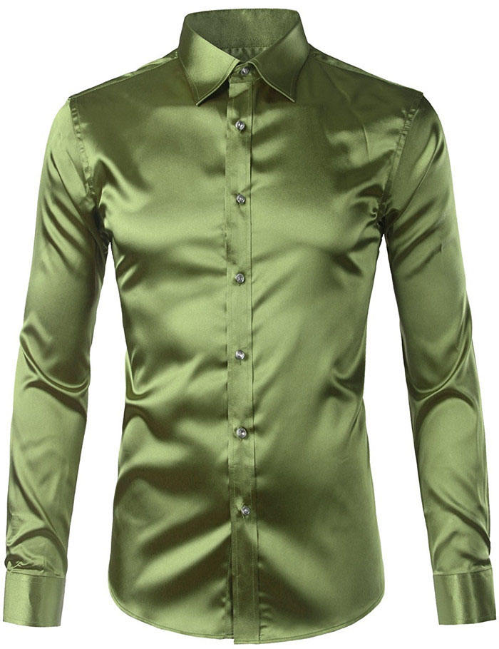 Casual silk shirt men button down shirt Long Sleeve Shiny Solid Color Satin Prom Dress Shirt Tops