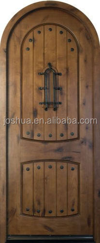 arch top Solid Knotty Alder Wood Entry Door wooden single main door design