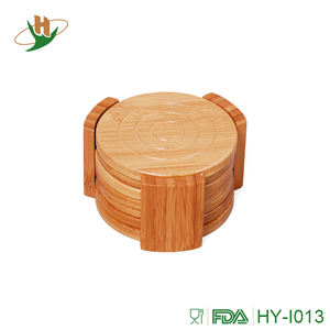 Round bamboo wood coaster set with groove