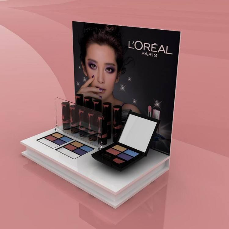 Customized acrylic Loreal cosmetic makeup trade show booth display for korea cosmetic