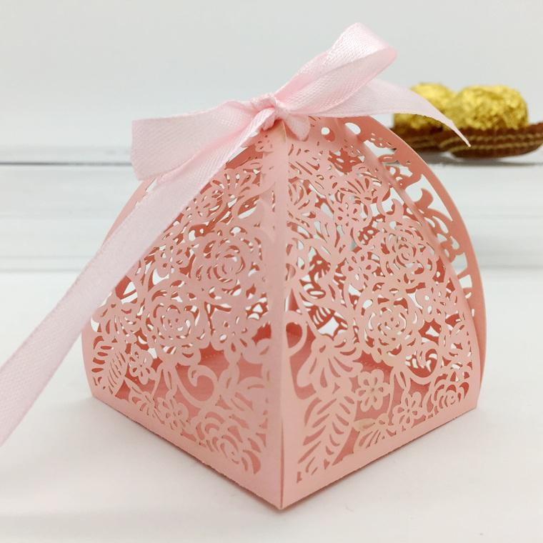 Pink flowers irregular shape with ribbon Laser Cut wedding candy box chocolate favour box baby shower birthday new born gift box