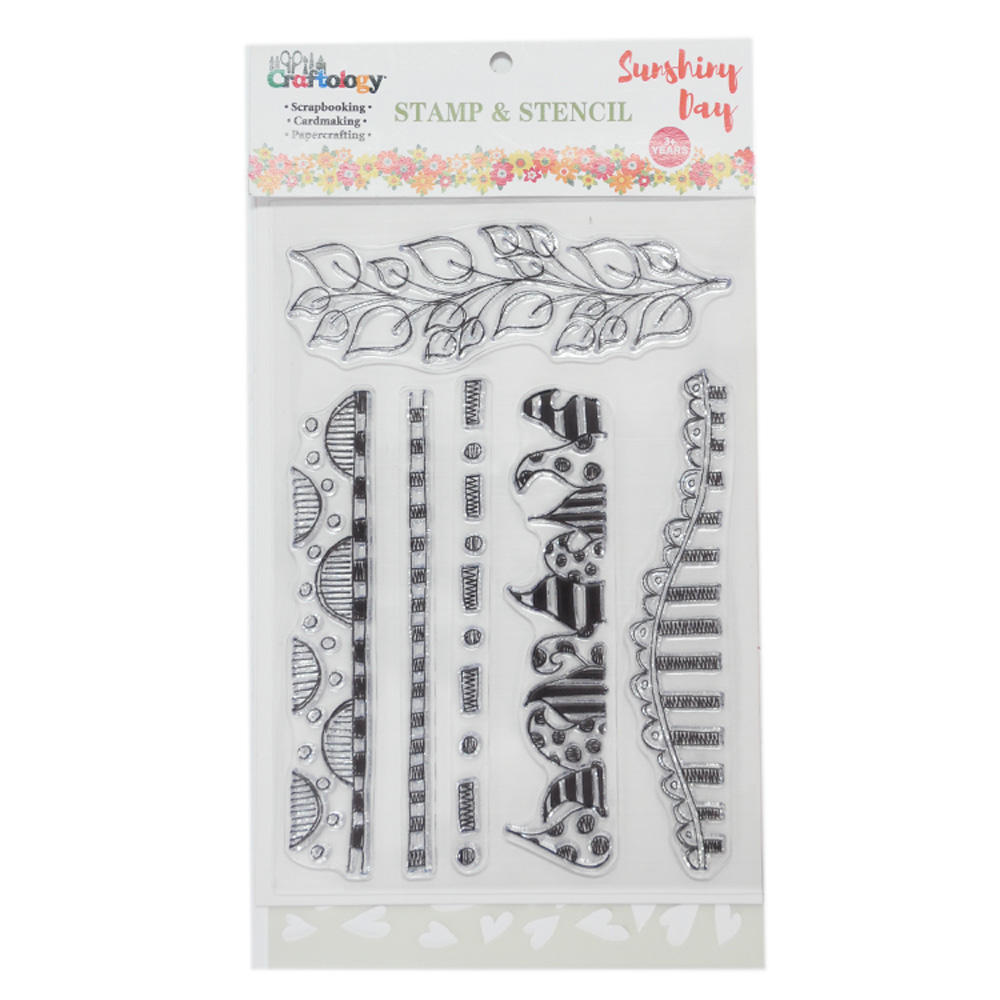 7pcs boarder design clear stamp and stencil set