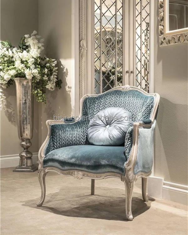Elegant Blue Princess Living Room Furniture, Solid Wood Carved Leisure Chair, Italian Style Classic Arm Chair One Seat Sofa