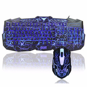 OEM Keyboard dan Mouse Gaming, Lampu Led Tiga Warna Rgb Berkabel PC Komputer Keyboard dan Mouse