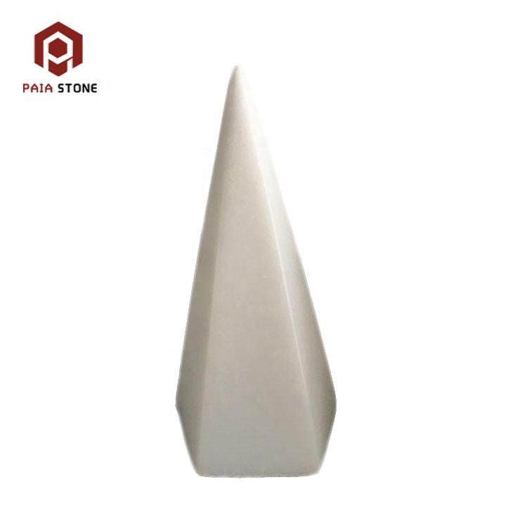 Geometrical shape white onyx art craft stone for home decoration