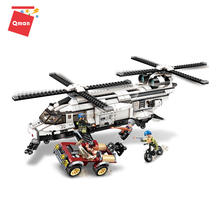 Qman 648pcs Gunship Aircraft Model 3D Building Bricks Toys gift for children