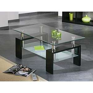 Tempered Glass Top And Lacquered Bottom Shelf Stainless Steel Side Table Coffee Table
