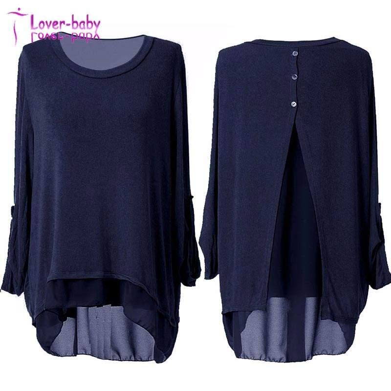 Wholesale Long Sleeve Ladies Split Back High Low Tunic Top