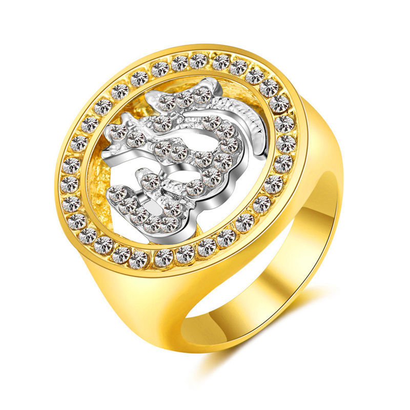 Amazon trade hot sellers in the Middle Muslim Allah gold-plated diamonds rings