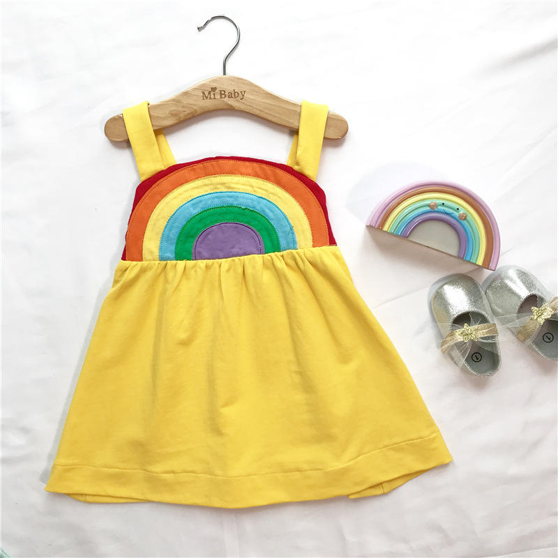 High quality fashion summer modern baby girls rainbow one piece cotton girls dresses