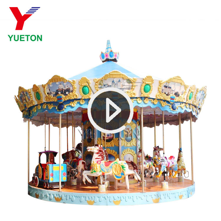 Carnival Kids Ride Adult On Merry Go Round
