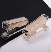 luxury novelty personalized transparent gold office metal acrylic long stapler