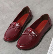 New design comfortable weap bowknot soft sole slip on middle and old aged fashion mother shoes