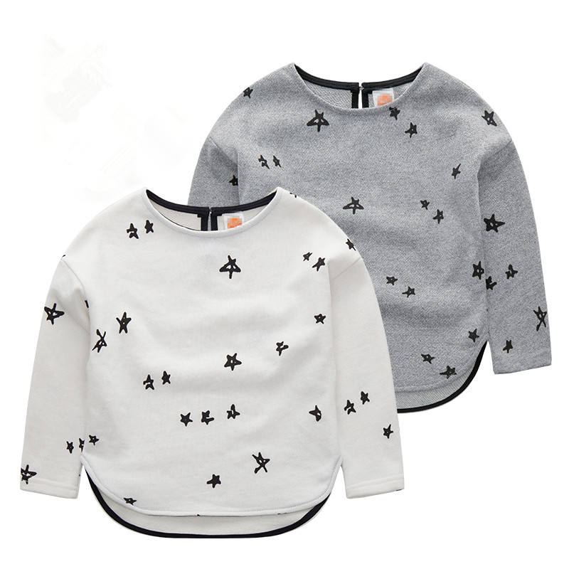 Casual Online Shopping Infants And Toddlers Boys Long Sleeve Stars Printed T-shirt